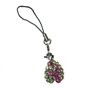 Coloured crystal mobile phone charm, (jj44)